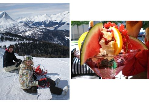 Left: Skiing with a friend in the Tyrolean Alps, 2009; Right: Ice cream creations, these are just some of my favourite things!