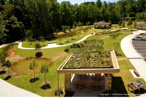 The Greenroof Pavilion and Trial Gardens of Rock Mill Park; Photo c 2008 by Harris Hatcher Photography
