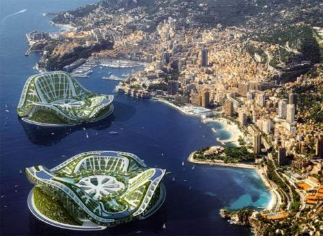 The Lilypad by Vincent Callebaut. A completely self-sufficient floating city, each is designed to hold around 50,000 people