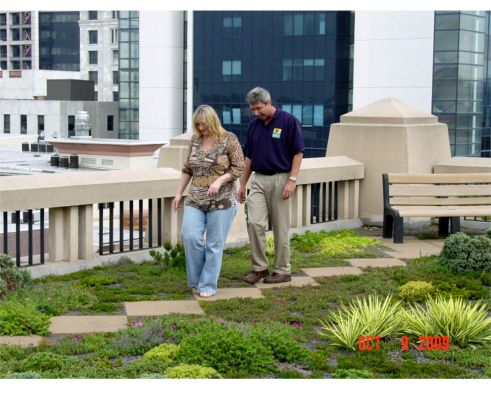 Bill and I walking on the Atlanta City Hall Green Roof Pilot Greenroof