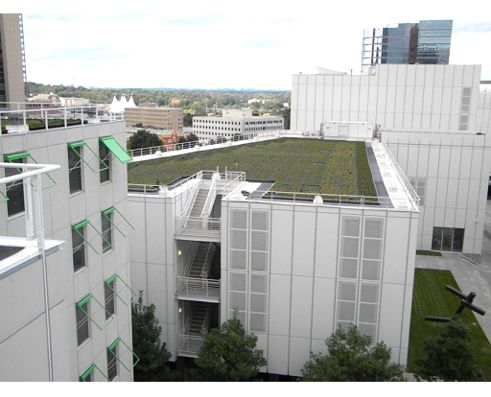 From the roof of the Atlanta Dormitories of SCAD, you can see the Bunzl Administration Building across the way, the Woodruff Arts Center below, as well as part of the SCAD greenroof itself on the upper left.