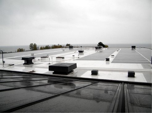 The BIPV roof facing the water