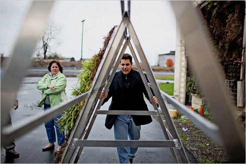 George and the GLT A-Frame Assembly; Photo by James Rajottefor the New York Times