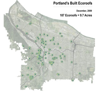 Built Ecoroofs in Portland as of 12-09