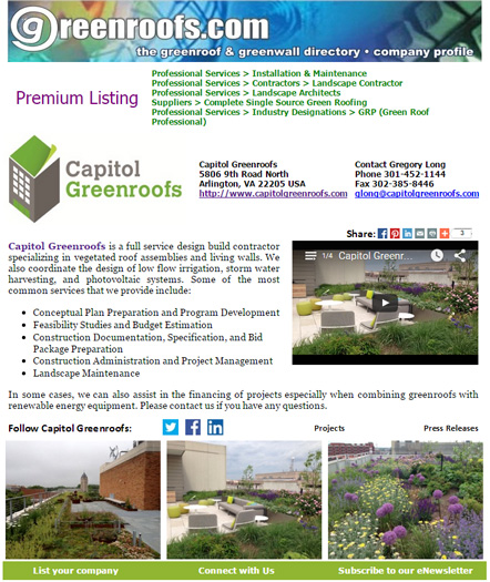 Greenroof & Greenwall Directory Company of the Week for