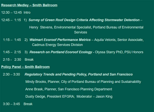 Agenda Portland Ecoroof Symposium 2016 GRP Course October 2-4