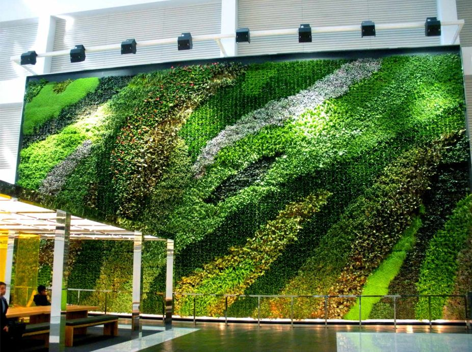 23 story atrium living wall. Black Bedroom Furniture Sets. Home Design Ideas