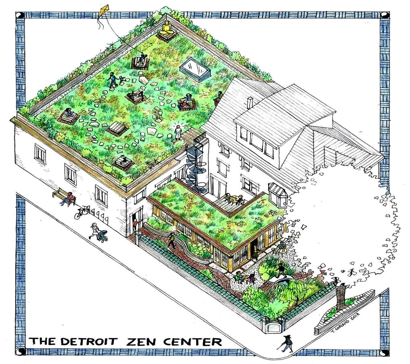 Be A Patron For Green Roof Park Rain Gardens Amp Tea House At The Detroit Zen Center