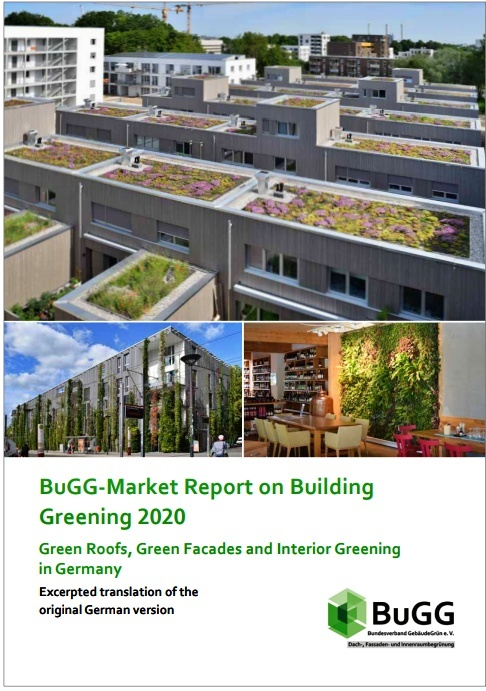 The BuGG-Market Report on Building Greening 2020 with information and figures on the market for roof, facade and interior greening. Source: BuGG