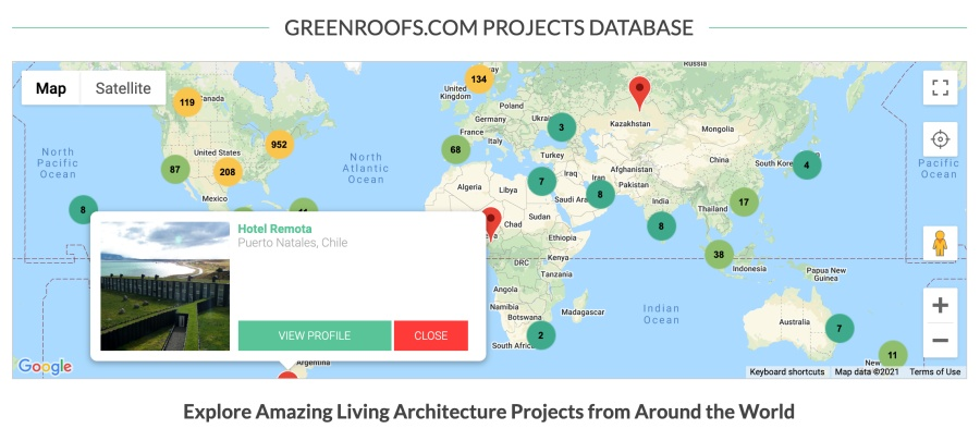 Greenroofs.com Projects Database Google Map