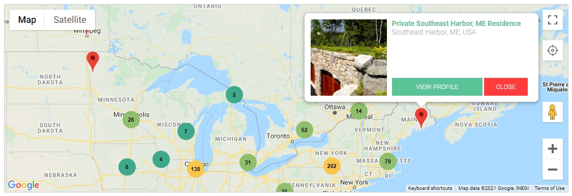 Interactive Projects Database Google Map
